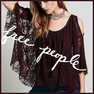 Free People Lost in Austin Lace Cold Shoulder Top